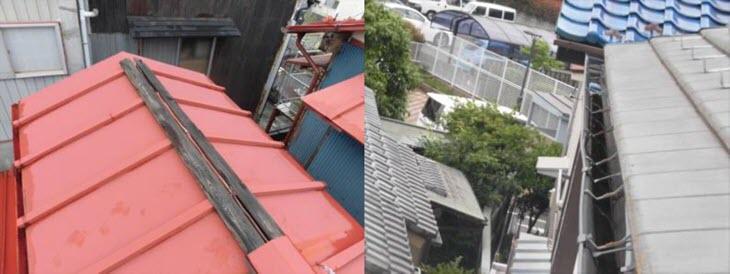 損害箇所の写真参考、屋根と雨樋