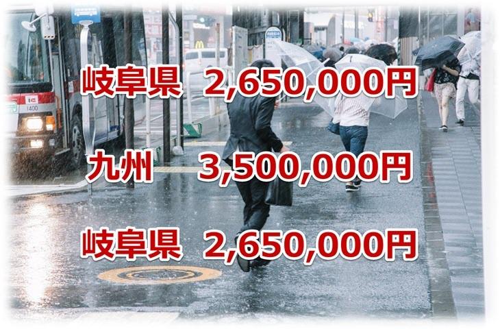 ワンズトップの火災保険申請サポートで給付された保険金額の実績2(岐阜、九州)